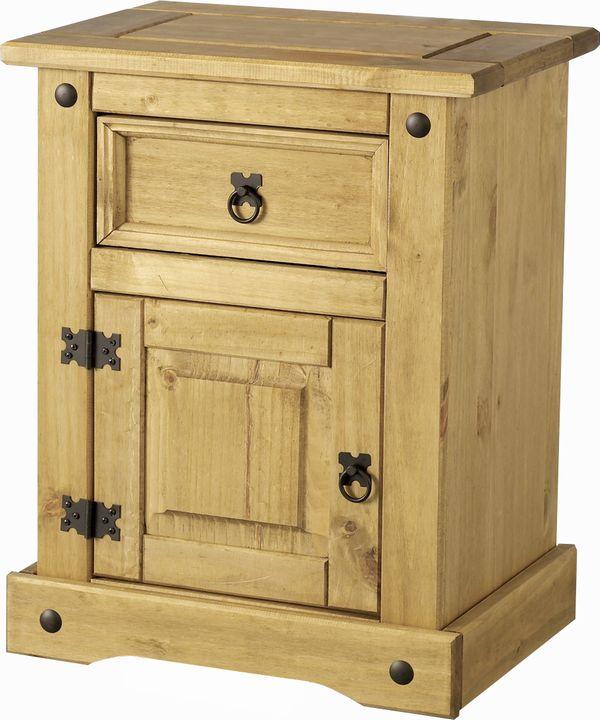 Corona bedside cabinet mexican pine corona bedroom mexican pine furniture for for Mexican pine bedroom furniture